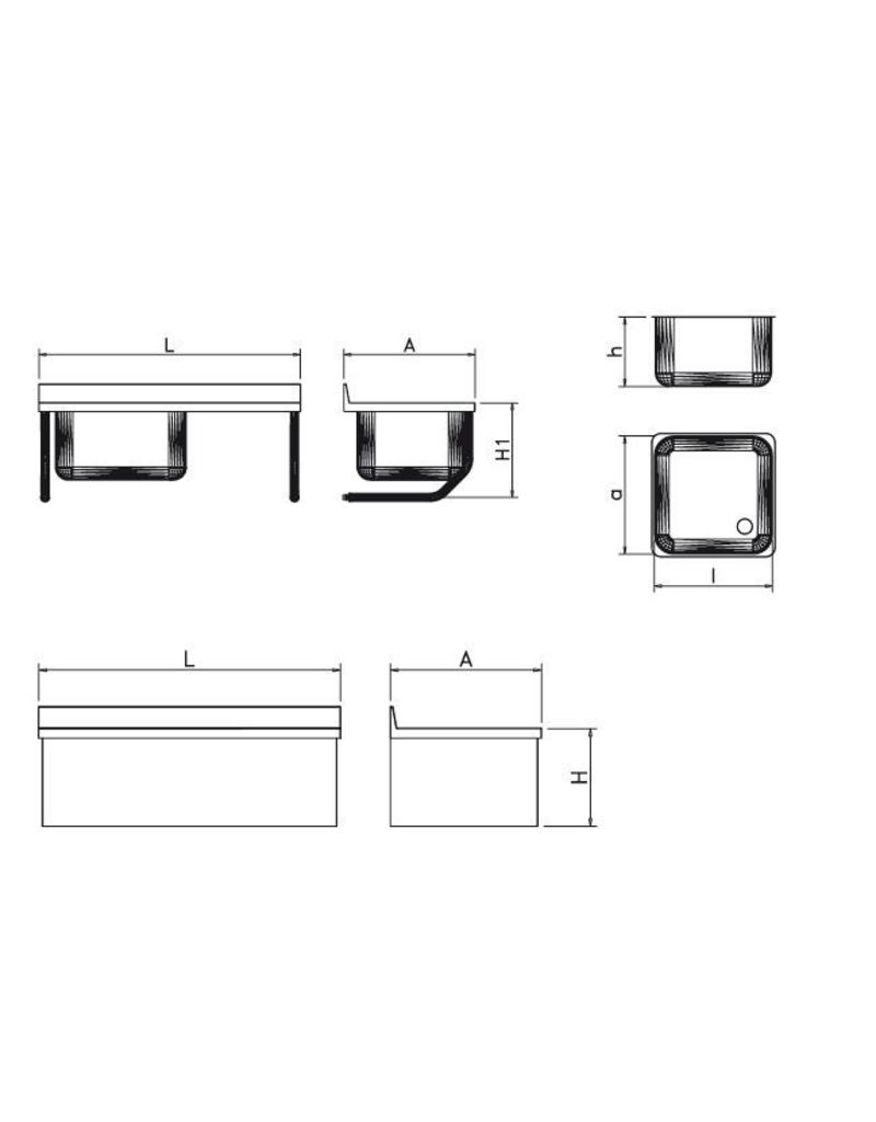 Wall mounted sink with draining board right