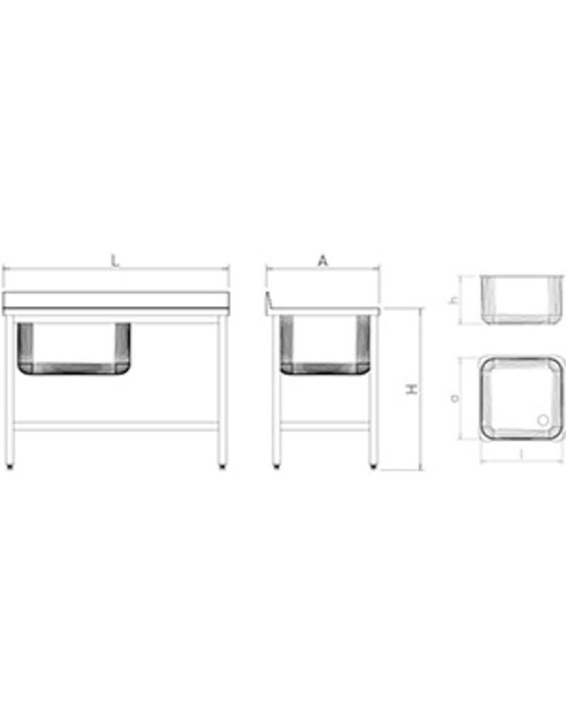 Spoeltafel met korte afdruipplaat rechts