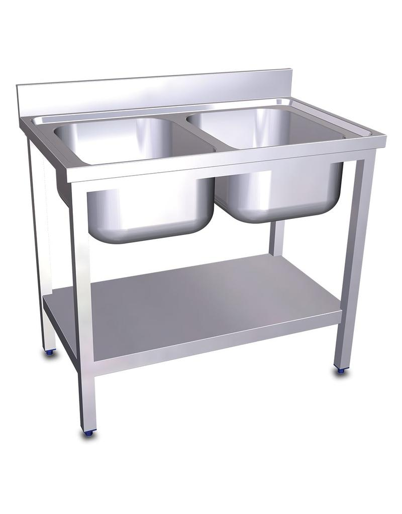 Double sink with bottom plate