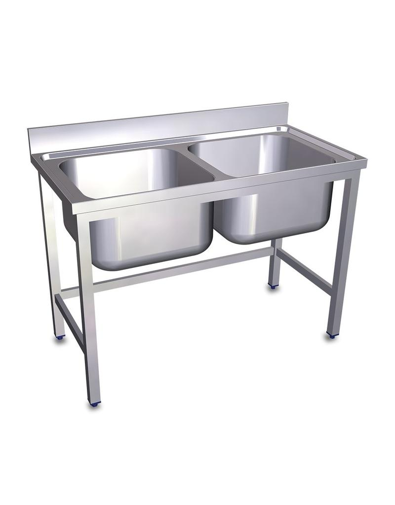Double sink without bottom plate