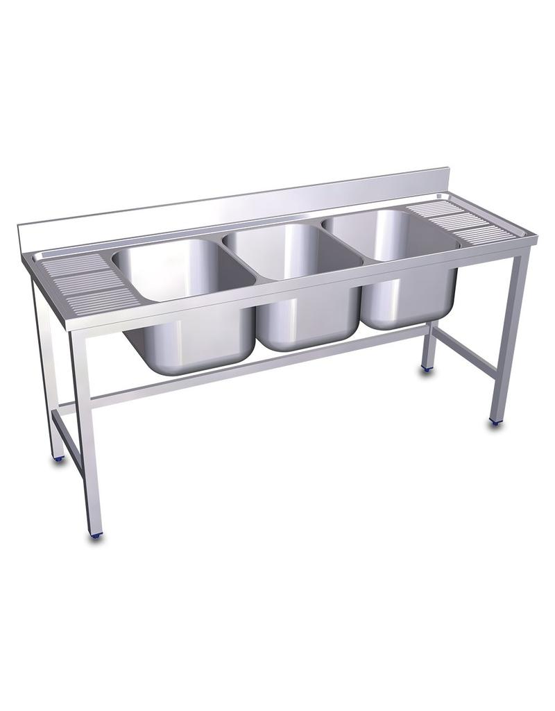 Triple sink with two drainer boards