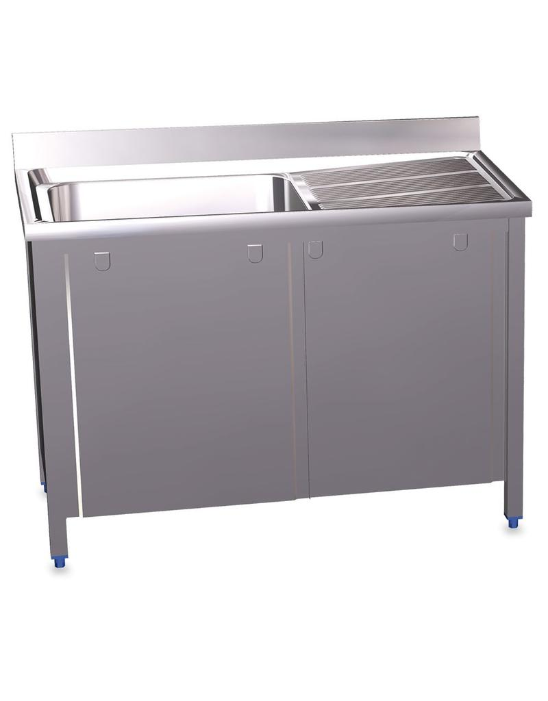 Sink high capacity with sliding doors