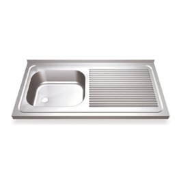 Sink with drain board on the right and sliding doors