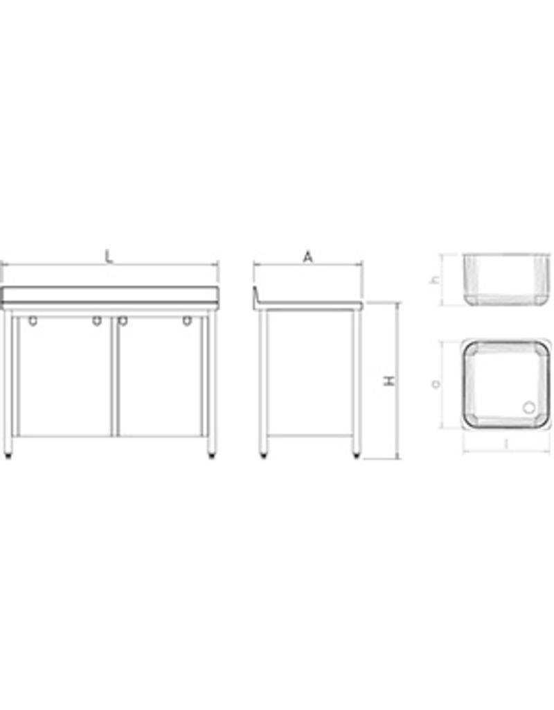 Spoelbak met afdruipplaat rechts en schuifdeuren