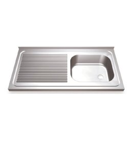 Sink with drain board on the left and sliding doors