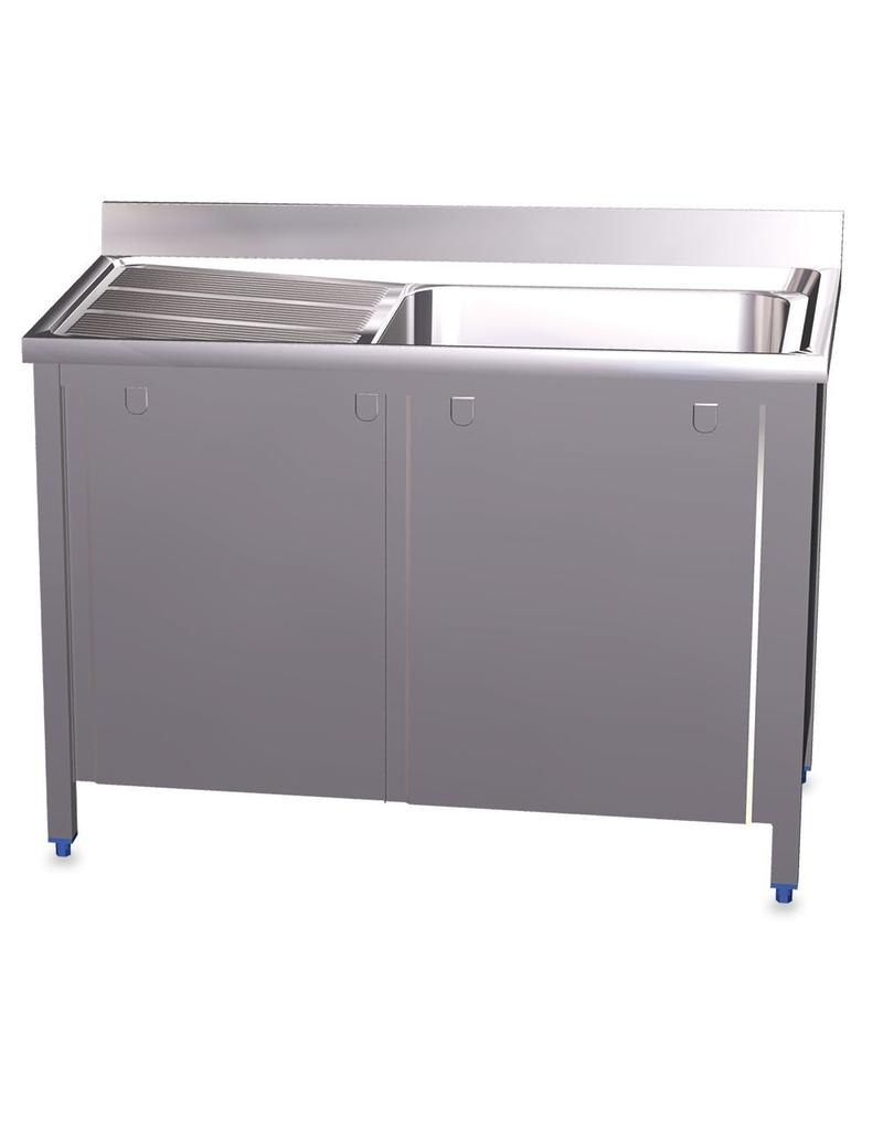 Double sink with sliding doors