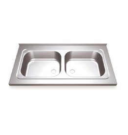 Double sink with hinged doors