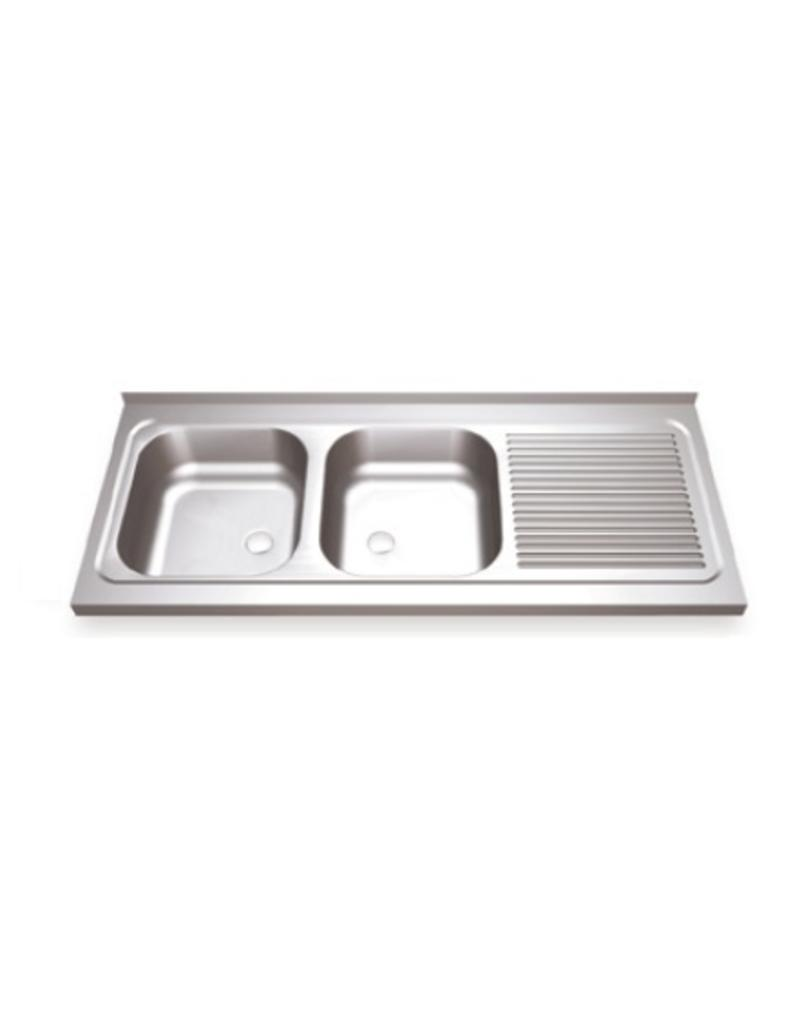 Double sink with drain board on the right and hinged doors