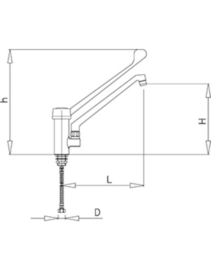 Mixing tap with elbow operation