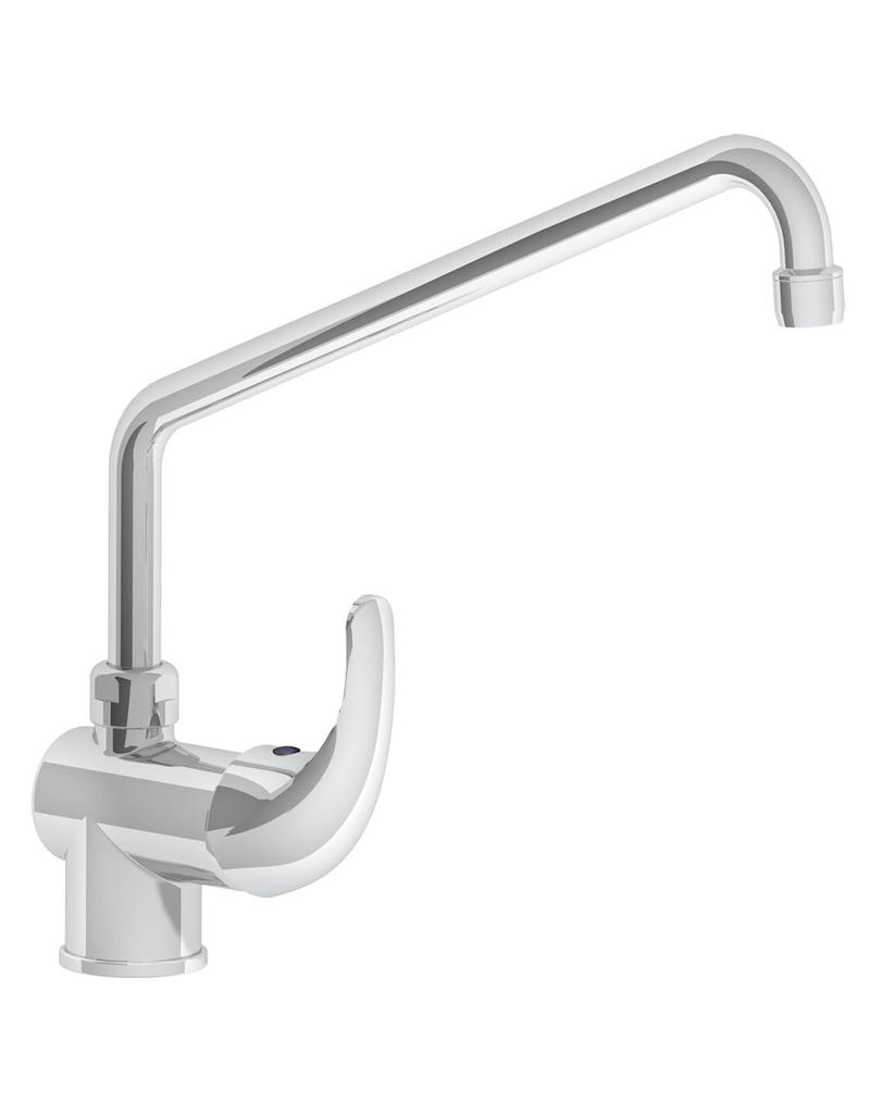Mixing tap with elevated spout