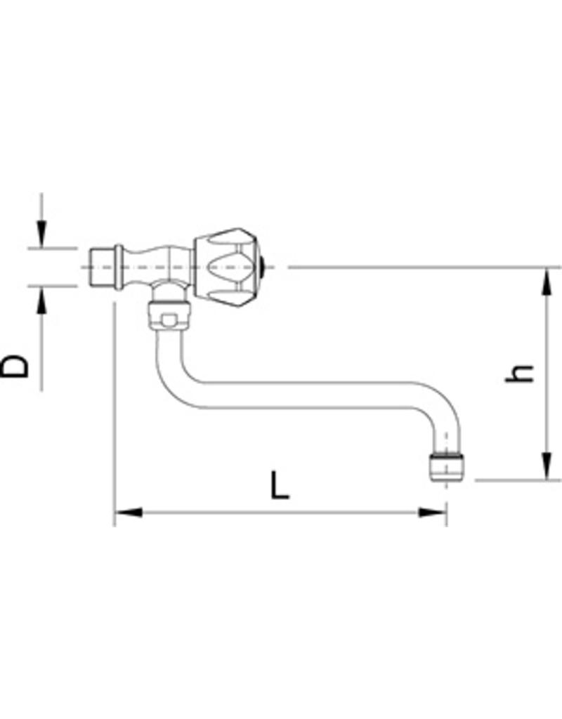 Low tap with insulated handle