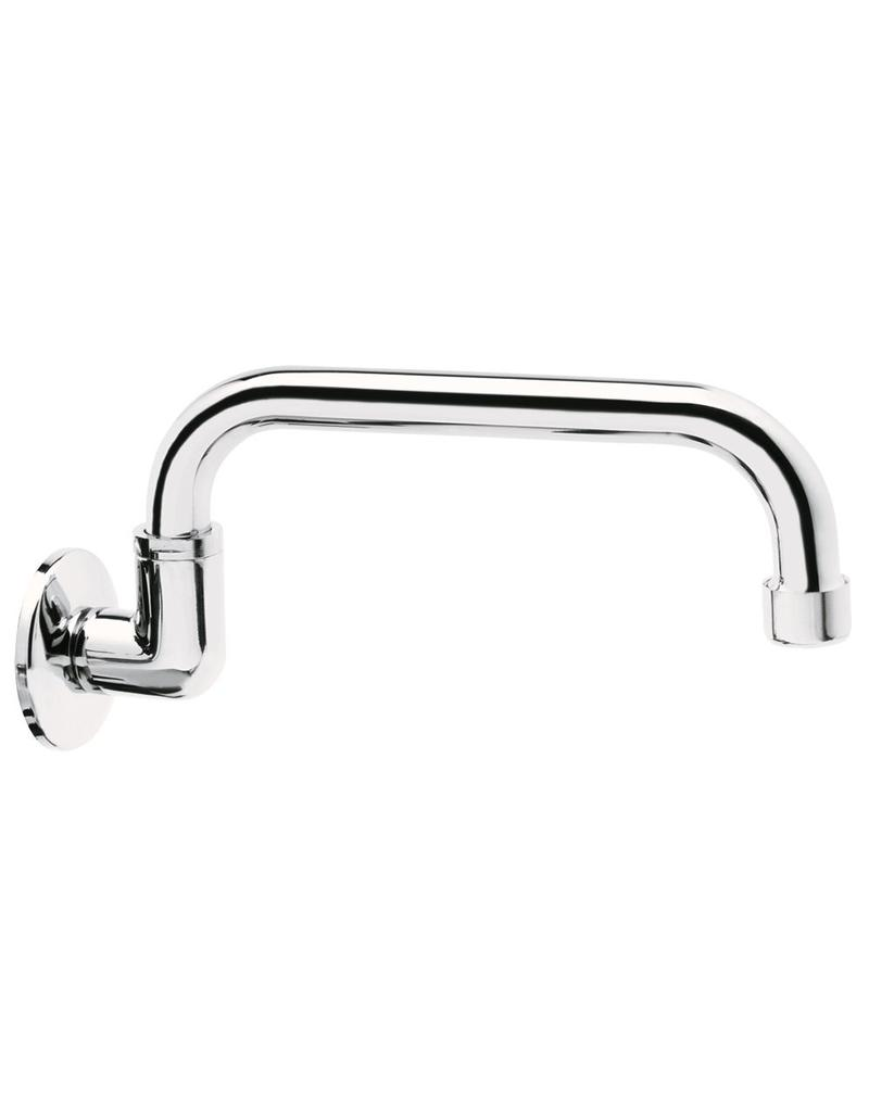 Curved spout with wall mounting