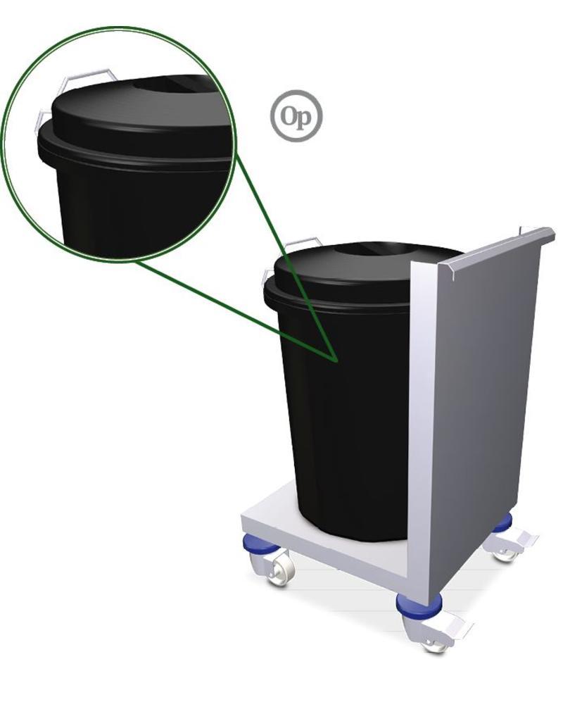 Spoeltafel karretje voor vuilnisbak