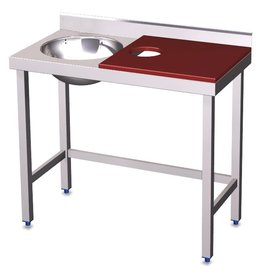 Short preparation table and sink