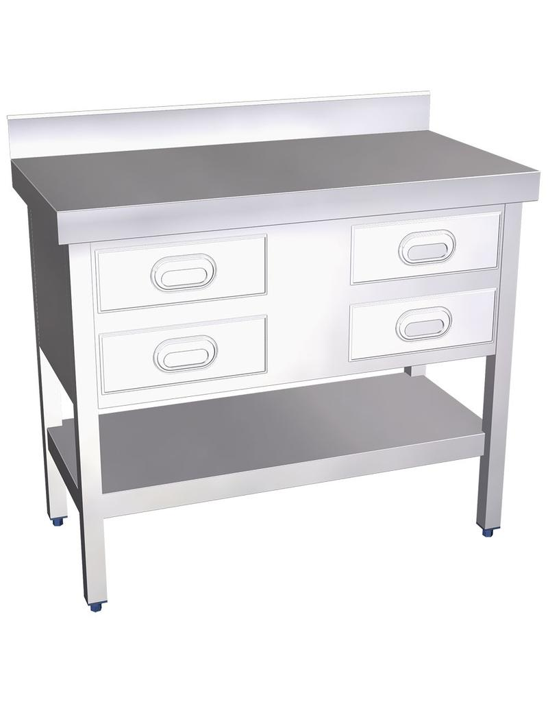 Wall table with 4 or 8 drawers