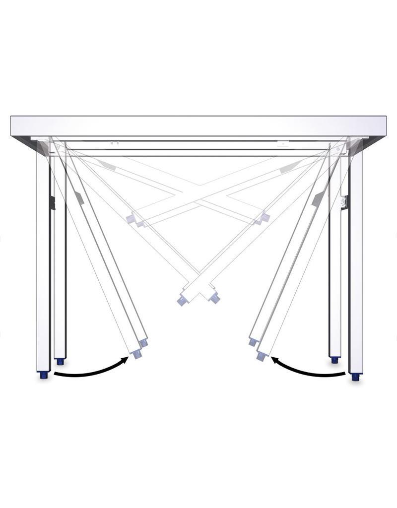 Foldable island table with shelf