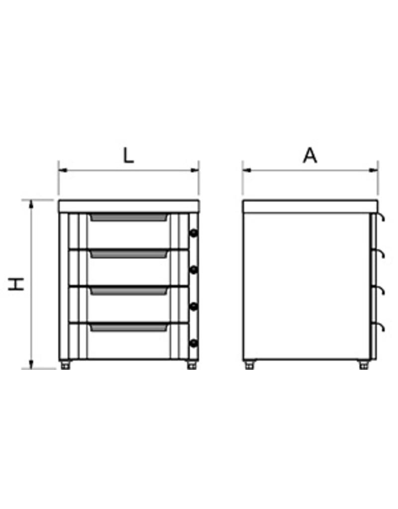 Modular box with door and drawer