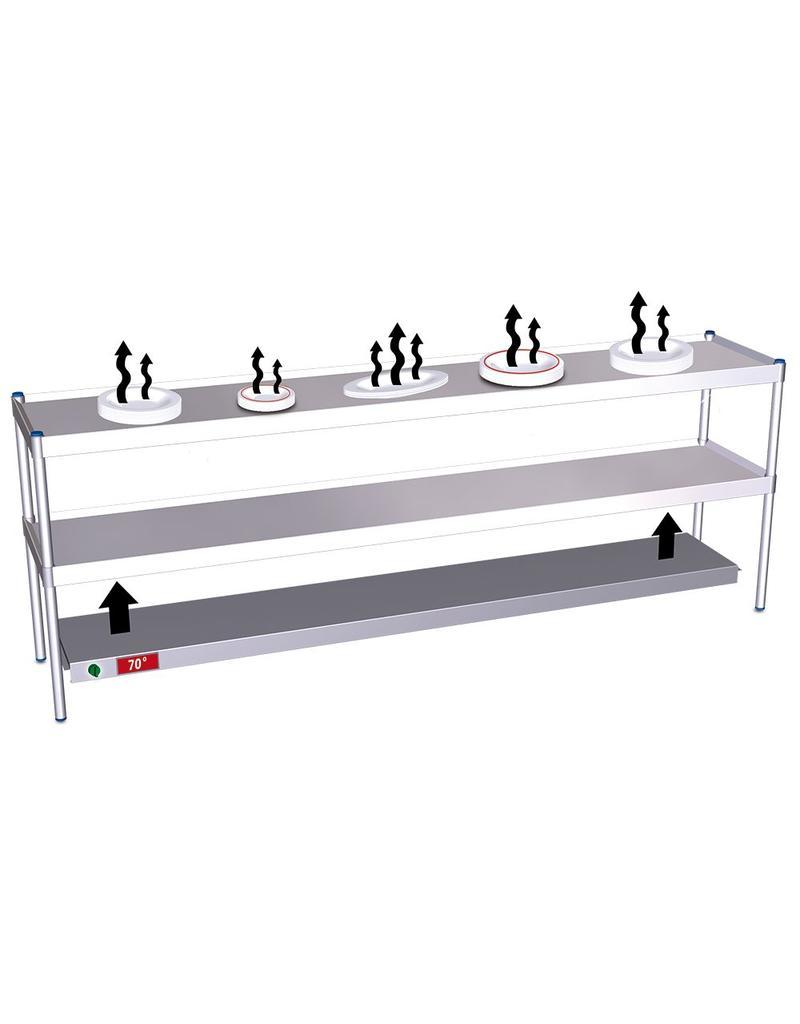 Dish heating for desktop shelves