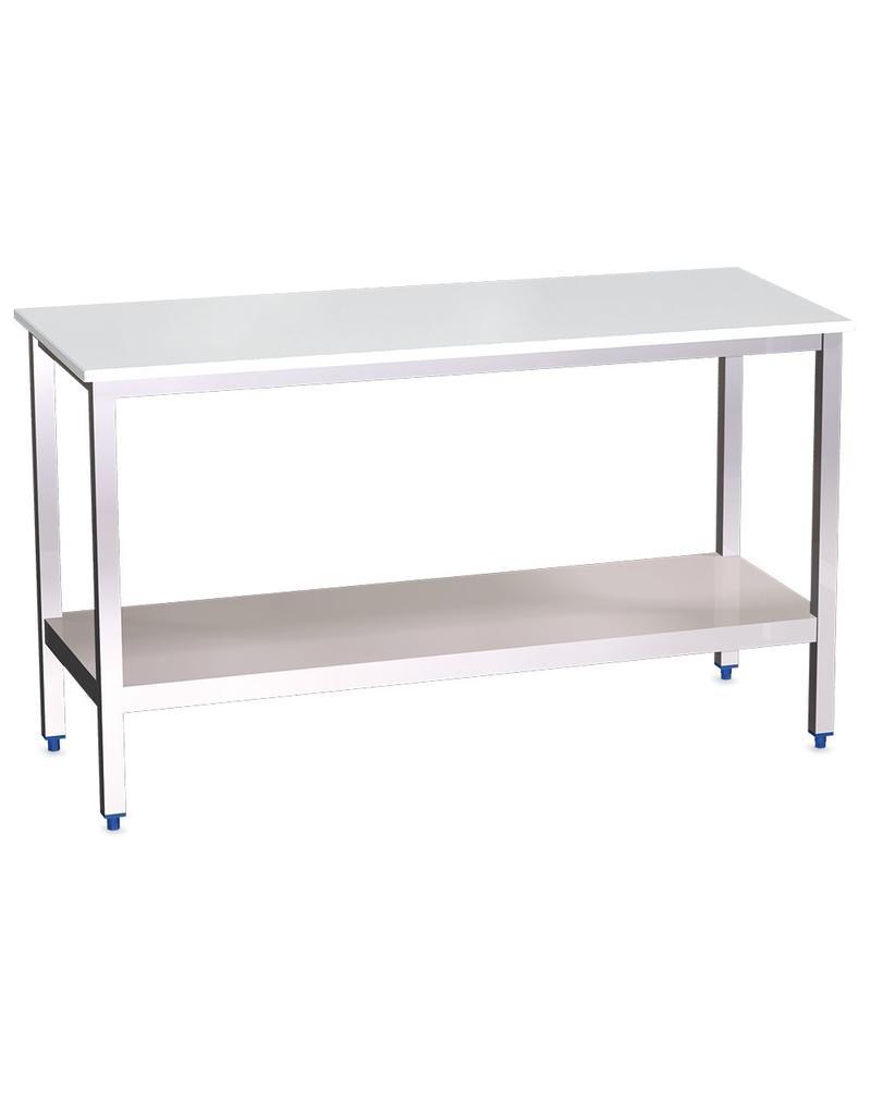 Tafel met polyethyleen werkblad en legbord