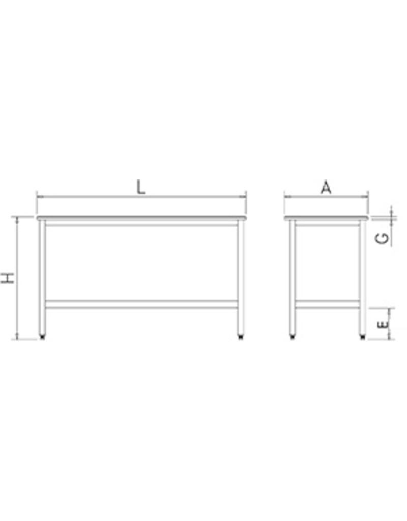 Table with polyethylene sheet without shelf