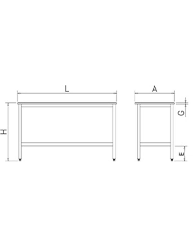 Tafel met polyethyleen werkblad zonder legbord