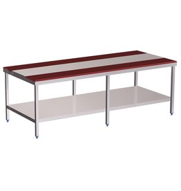 Double cutting table with shelf