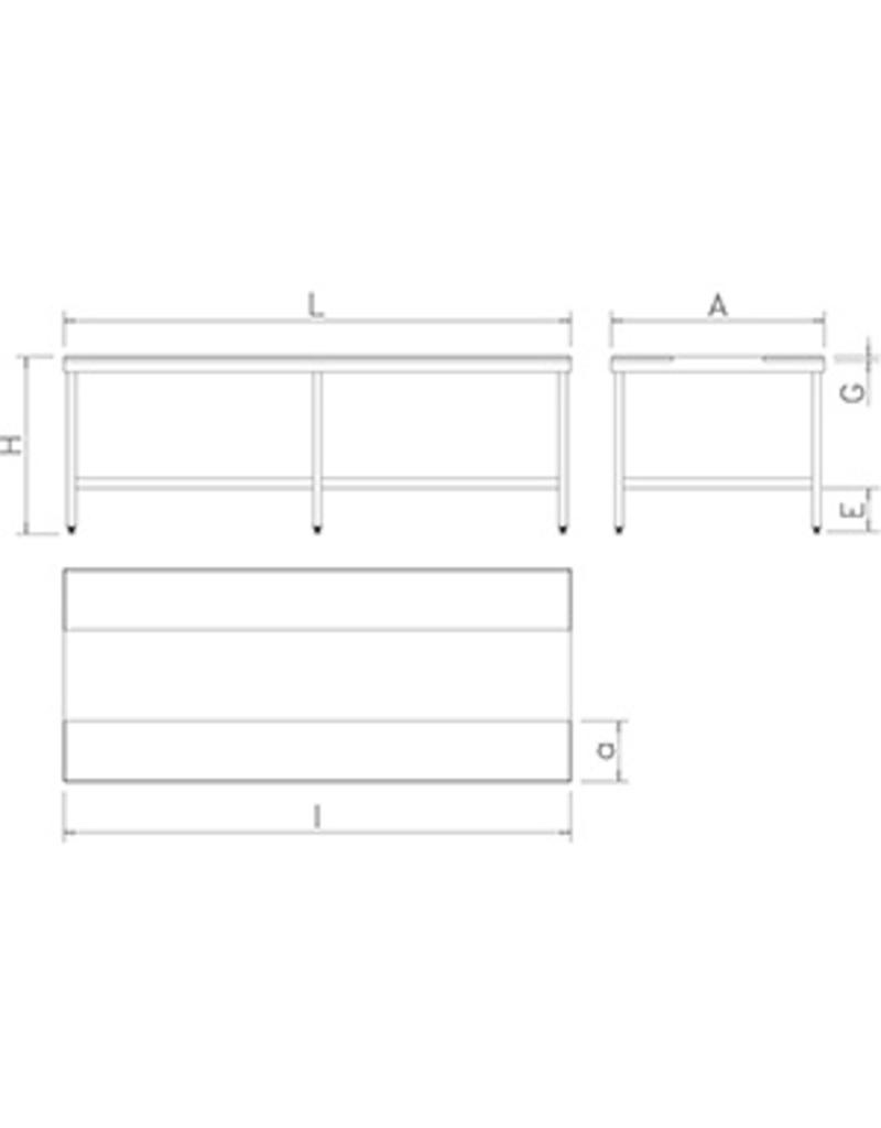 Double cutting table without shelf