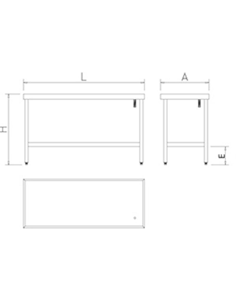 Table with gutter, raised edges without shelf