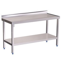 Wall table with gutter, raised edges and shelf