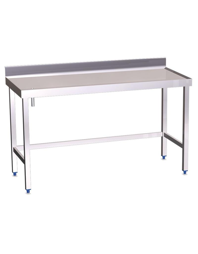 Wall table with gutter and raised edges without shelf