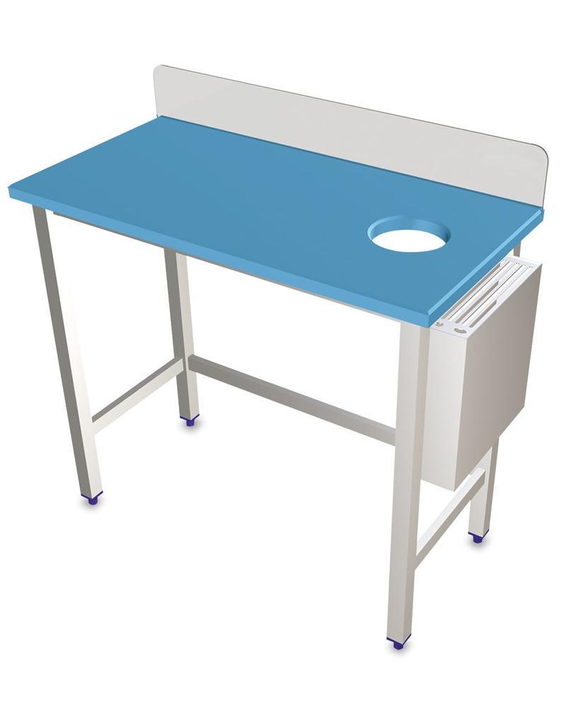 Preparatietafel met polyethyleen werkblad en messenhouder