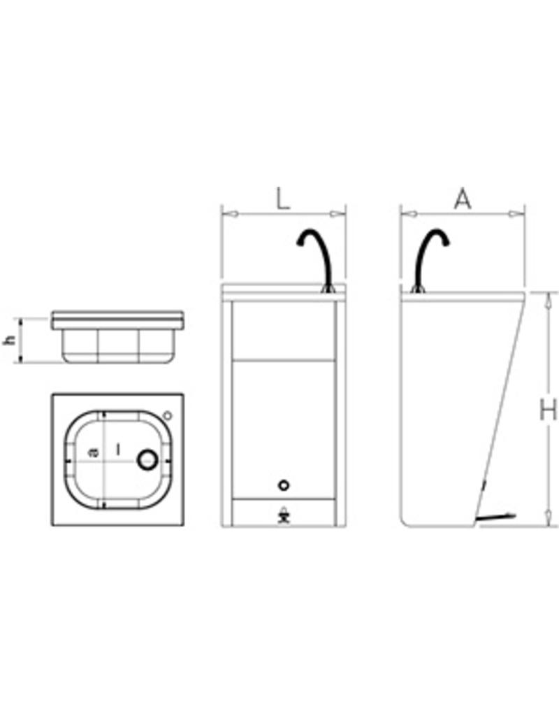 Standaard handwasbak - met drukknop op voethoogte