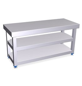 Stainless steel bench for locker room with double shoe rack