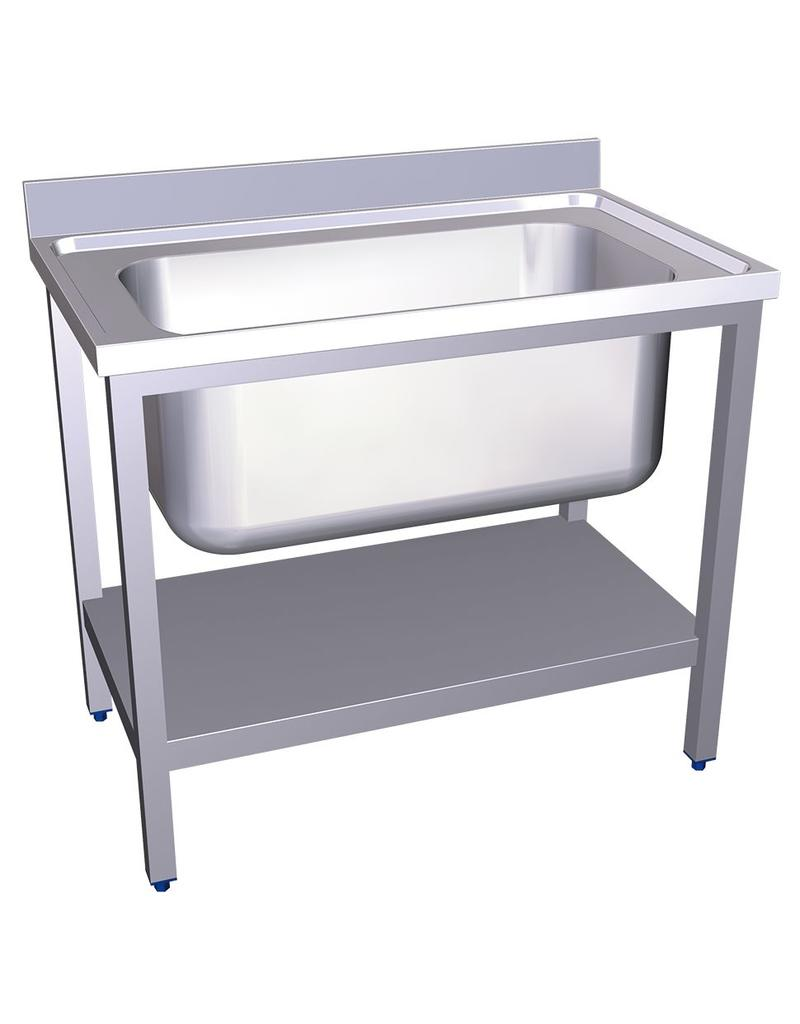 Sink with large capacity and shelf