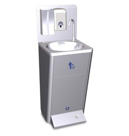 Mobile hand washbasin with waste tray + 220v pump.