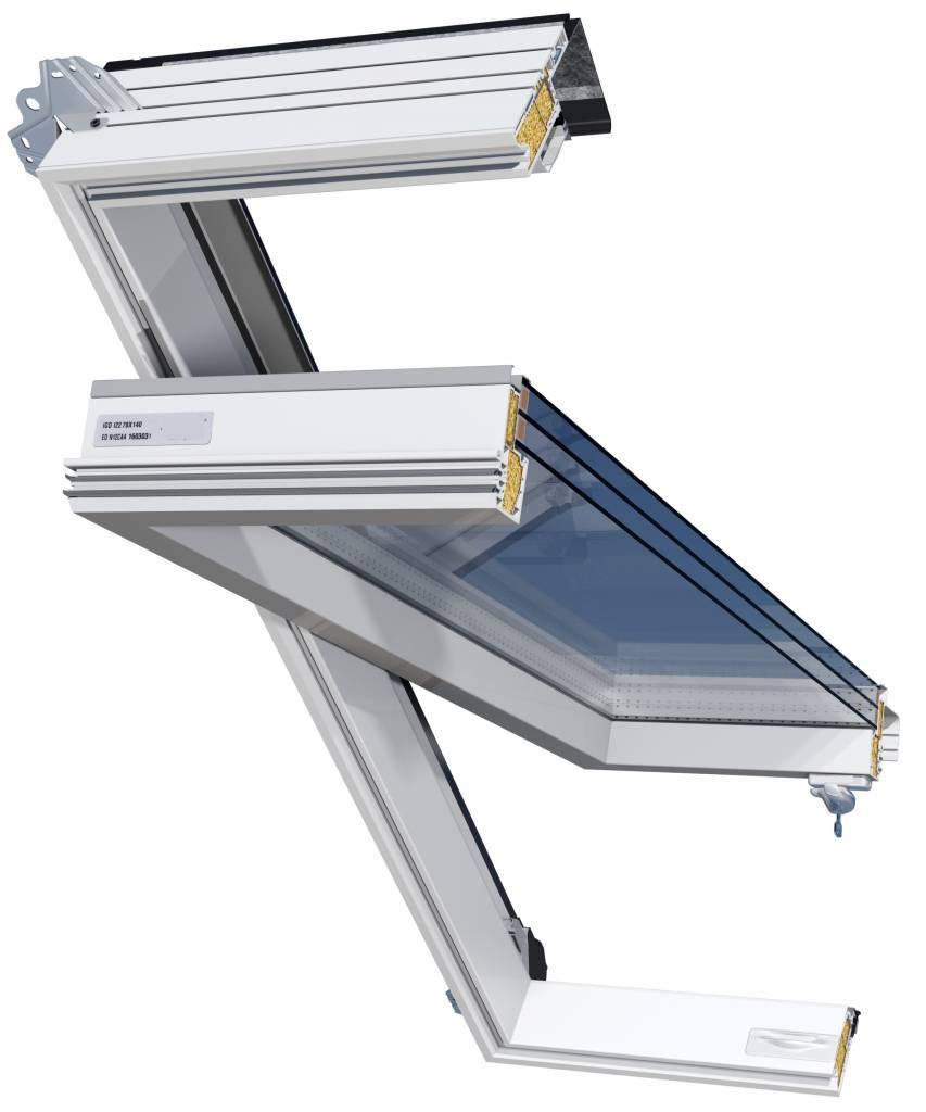 Intura - Kunststof tuimel dakraam IGOV N22,  triple glas zonwerend, ventilatie, onderhoudsarm, Uw = 0,8 W/m2K