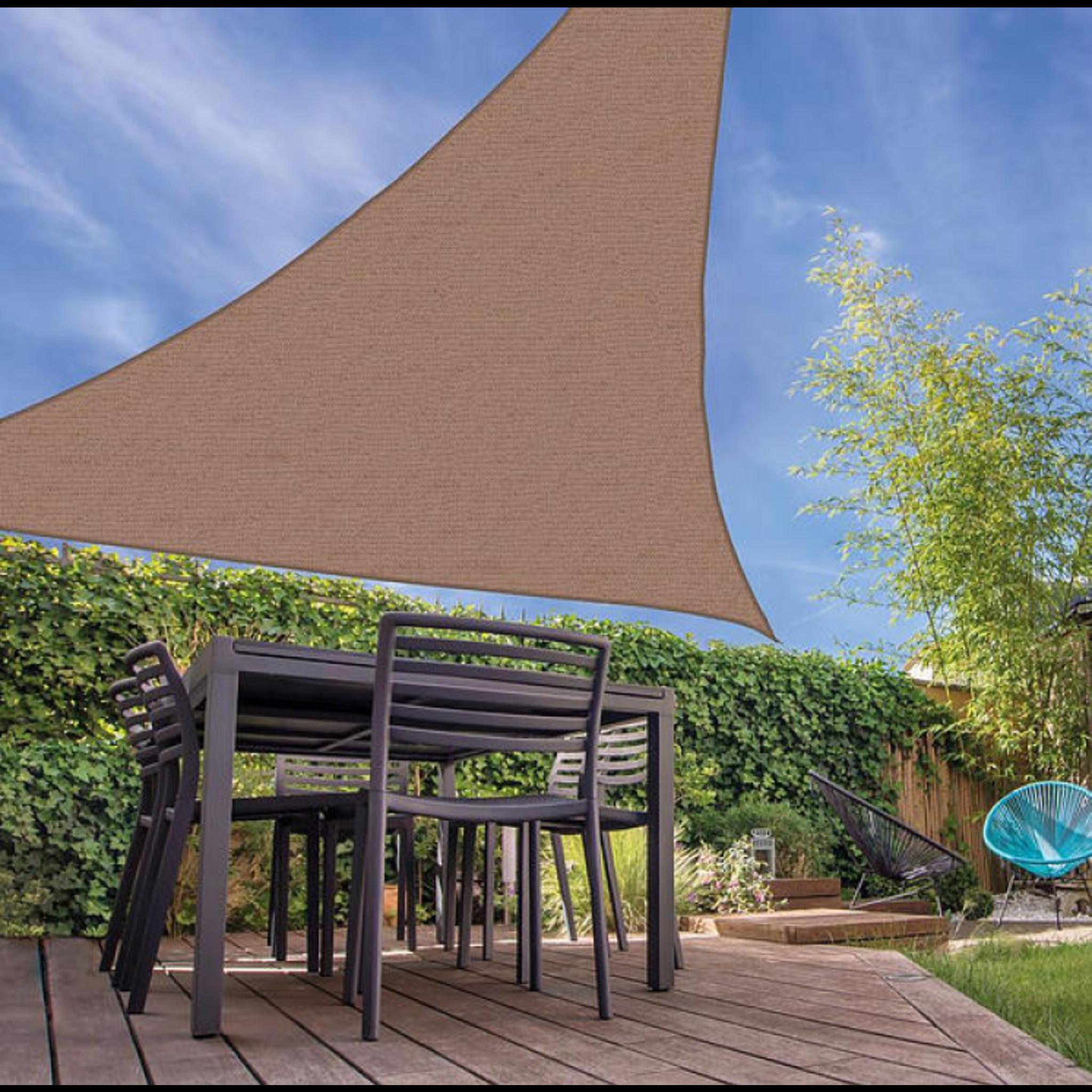 Schaduwdoek Open Structuur Driehoek - 3 m - Zandkleur