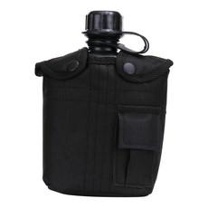 Veldfles PVC met hoes 1L - Zwart