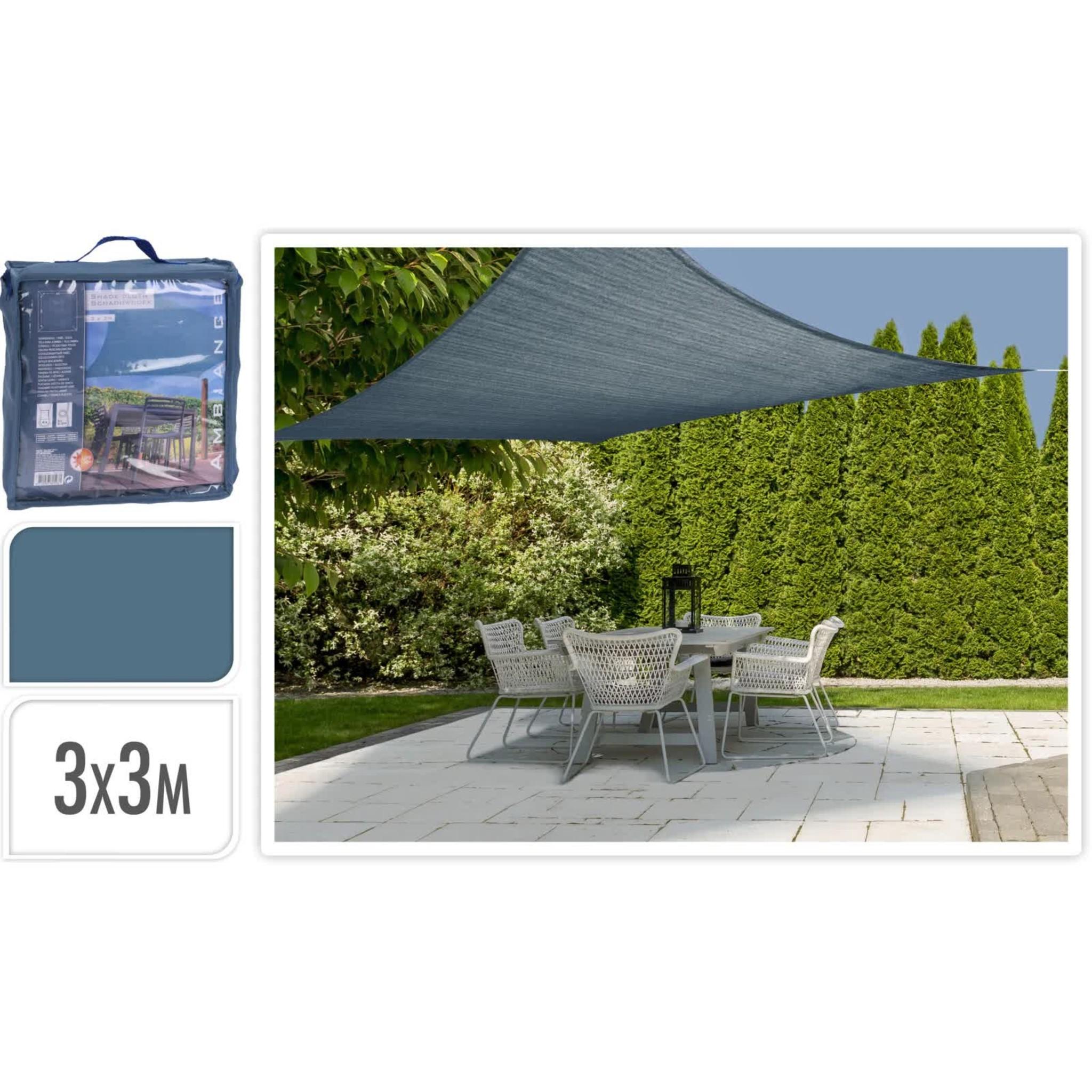 Schaduwdoek met UV bescherming UPF 50+ - 3x3 meter - Blauw