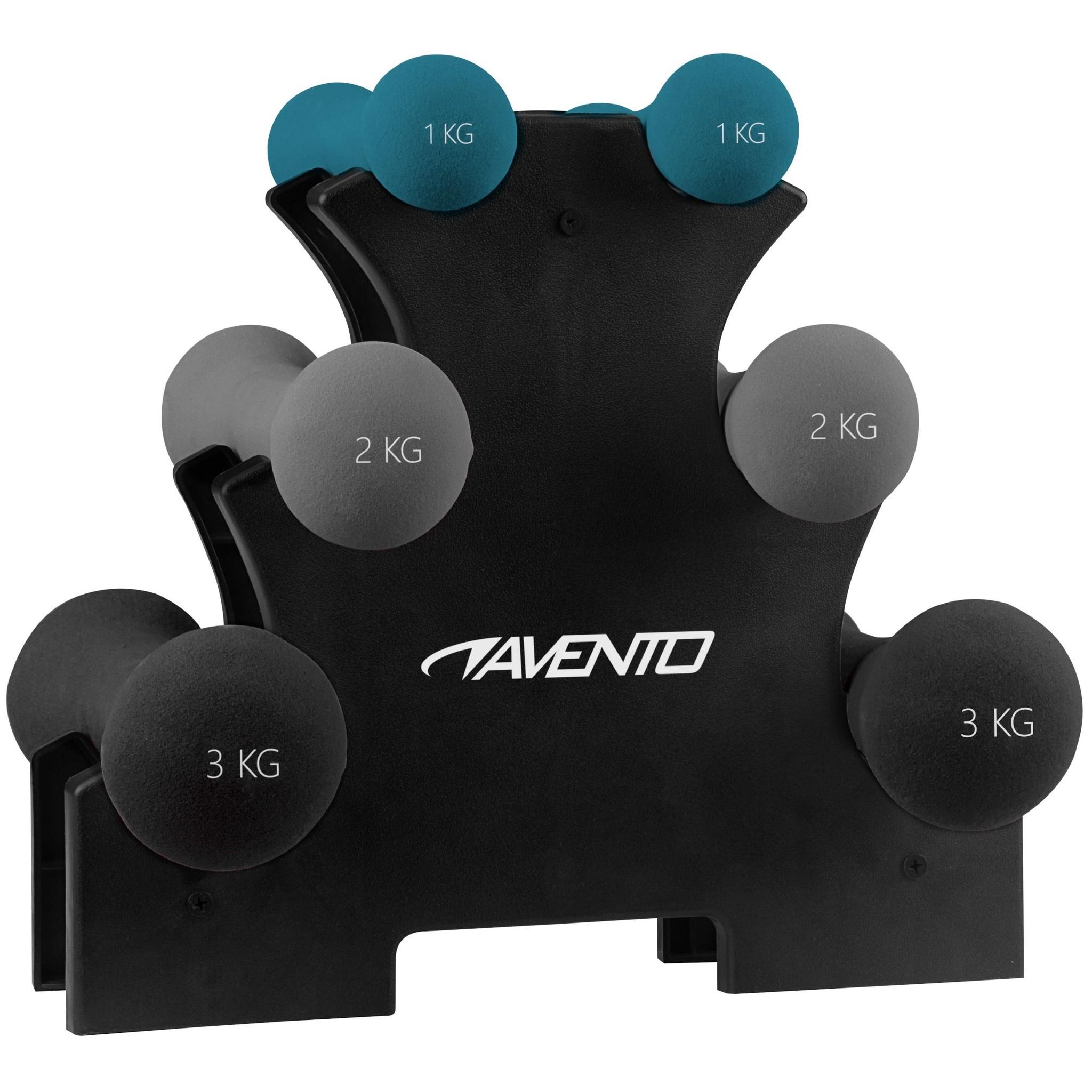 Avento® Handgewichten Bone 3 Paar + Rek
