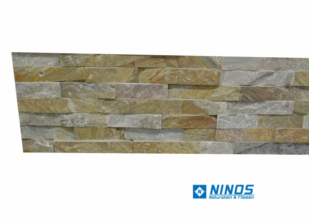 Brickstone Beige Quarzit Naturstein Verblender Wandverblender