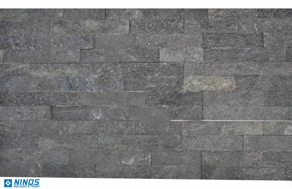 Briques mur de pierre Quarzit Brickstone Black