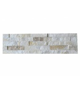 Wall bricks stone panels Quarzite White Creme 1. Choice in 55x15 cm