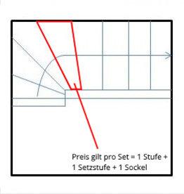 Escalier de granit 1/4, 1. Choice, 1 étape + 1 instelstap + 1 voetstuk