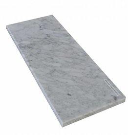 Bianco Carrara 125x25x2 cm Marble windowsill Polished surface, 1. Choice, edge to 1 long side and 2 short sides chamfered and polished, it is possible to measure also!