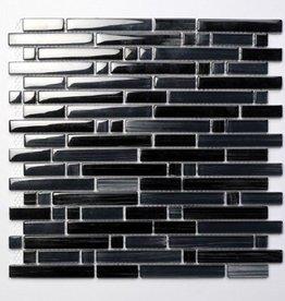 Palermo Black verre Mosaïque Carrelage 1. Choice dans 30x30x1 cm