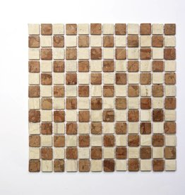 Travertino Rosso Natural stone mosaic tiles 1. Choice in 30x30x1 cm