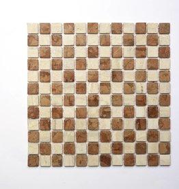 Travertino Rosso Natuursteen Mozaïek Tegels 1 Keuz in 30x30x1 cm