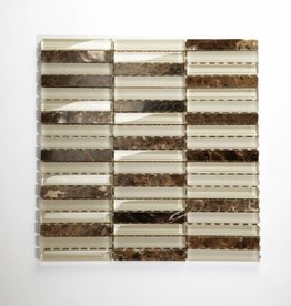 Quebeck Brown Long Mix glas mosaic tiles 1. Choice in 30x30x1 cm