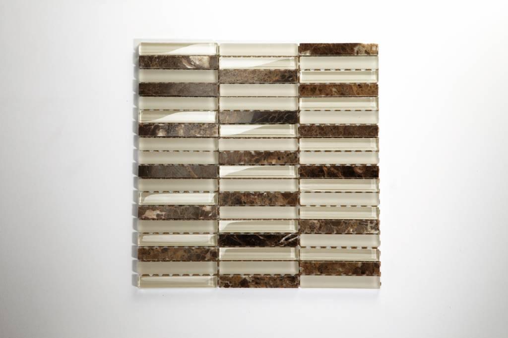 Quebeck Braun Poliert Lang Mix Glas Mosaikfliesen